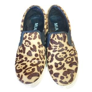 MIA leopard calf hair loafers slip on sneakers 10M